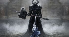 helge-c-balzer, dark-fantasy-art, dark-fantasy-artwork, Tolkien, Silmarillion, Silmaril, Fingolfin, Melkor, Morgoth, Angband, Grond, Elven King, Elben König, Elfen König, Fingolfins-Death, Fingolfins-Tod,