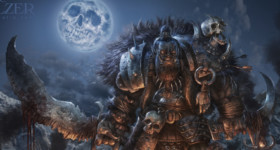 Helge C. Balzer, Ork, Orc, war-chief, skull-moon, Orc army, Ork Armee, Dark Fantasy, Fantasy Illustration, night scene, camp fire, Nachtszene, Lagerfeuer,