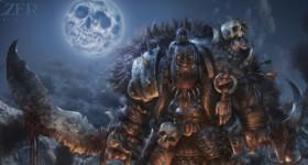 Helge C. Balzer, Ork, Orc, war-chief, skull-moon, Orc army, Ork Armee, Dark Fantasy, Fantasy Illustration, night scene, camp fire, Nachtszene, Lagerfeuer,