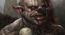 Orc, ork, wild ork, wild orc, skull, bones, red hair, rote haare, dark fantasy, fantasy, illustration, character design