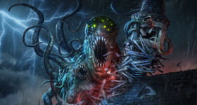 Arkham Horror, Card Game, Cover, Cthulhu, Lovecraft, tentacles, monster, creature, ruin and destruction, fantasy flight games, dark fantasy,