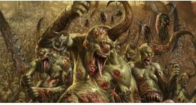 helge c. balzer, warhammer, 40k, gamesworkshop, age of sigmar, nurgle, plaguebearer, nurglings, decay, chaos, army, fantasy art, artwork, dark fantasy,